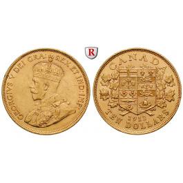 Kanada, George V., 10 Dollars 1912, 15,05 g fein, ss-vz/vz