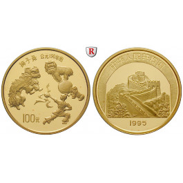 China, Volksrepublik, 100 Yuan 1995, 31,07 g fein, PP