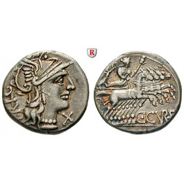 Römische Republik, C. Curiatius Trigeminus, Denar 135 v.Chr., ss+