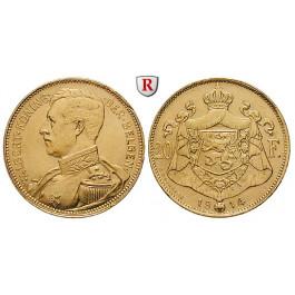 Belgien, Königreich, Albert I., 20 Francs 1914, 5,81 g fein, f.vz/vz-st