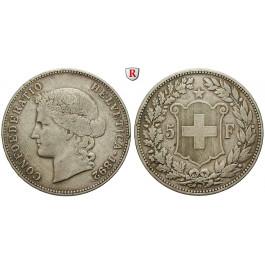 Schweiz, Eidgenossenschaft, 5 Franken 1892, ss