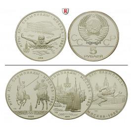 Russland, UdSSR, 5 Rubel 1977-1980, 15,0 g fein, st/PP