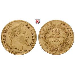 Frankreich, Napoleon III., 10 Francs 1861-1869, 2,9 g fein, ss