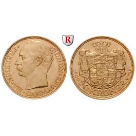 Dänemark, Frederik VIII., 20 Kroner 1908-1912, 8,06 g fein, vz