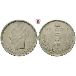 Belgien, Königreich, Leopold III., 5 Francs 1936, ss