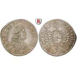 Römisch Deutsches Reich, Leopold I., 6 Kreuzer 1670, vz+