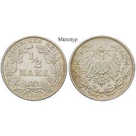Deutsches Kaiserreich, 1/2 Mark 1908, G, ss, J. 16
