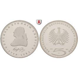 Bundesrepublik Deutschland, 5 DM 1981, Lessing, J, vz-st, J. 429