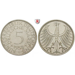 Bundesrepublik Deutschland, 5 DM 1958, G, vz-st, J. 387