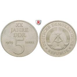 DDR, 5 Mark 1969, 20 Jahre DDR, vz, J. 1524
