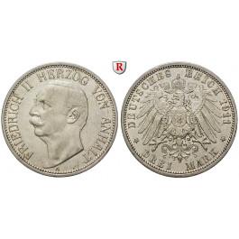 Deutsches Kaiserreich, Anhalt, Friedrich II., 3 Mark 1911, A, ss, J. 23