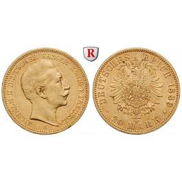 Deutsches Kaiserreich, Preussen, Wilhelm II., 20 Mark 1889, A, ss+, J. 250
