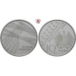 Bundesrepublik Deutschland, 10 Euro 2003, Volksaufstand 17. Juni 1953, A, bfr., J. 500