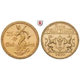 Nebengebiete, Danzig, 25 Gulden 1930, 7,32 g fein, f.st, J. D11