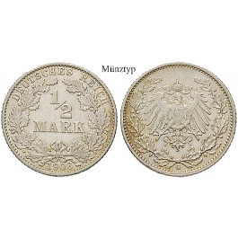 Deutsches Kaiserreich, 1/2 Mark 1913, J, vz, J. 16