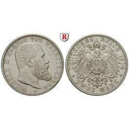 Deutsches Kaiserreich, Württemberg, Wilhelm II., 2 Mark 1904, F, ss, J. 174