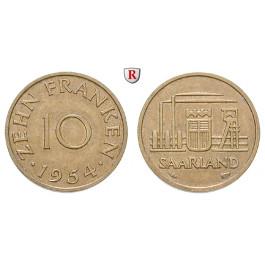 Nebengebiete, Saarland, 10 Franken 1954, ss-vz, J. 801
