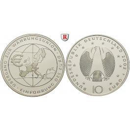 Bundesrepublik Deutschland, 10 Euro 2002, Einführung des Euro, F, 14,34 g fein, bfr., J. 490