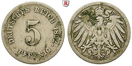 Deutsches Kaiserreich 5 Pfennig 1892 E Fss J 12