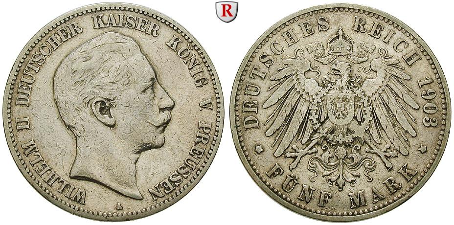 Deutsches Kaiserreich Preussen Wilhelm Ii 5 Mark 1903 A Ss J 104