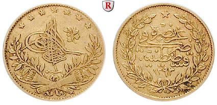 Osmanisches Reich Abdul Hamid Ii 50 Piaster 1876 331 G Fein Ss