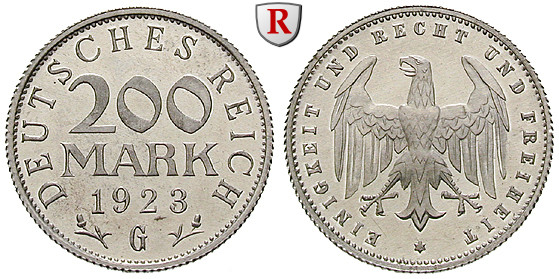 Weimarer Republik 200 Mark 1923 G Pp J 304