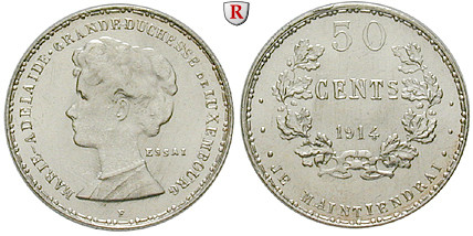 Luxemburg Marie Adelheid 50 Centimes 1914 St