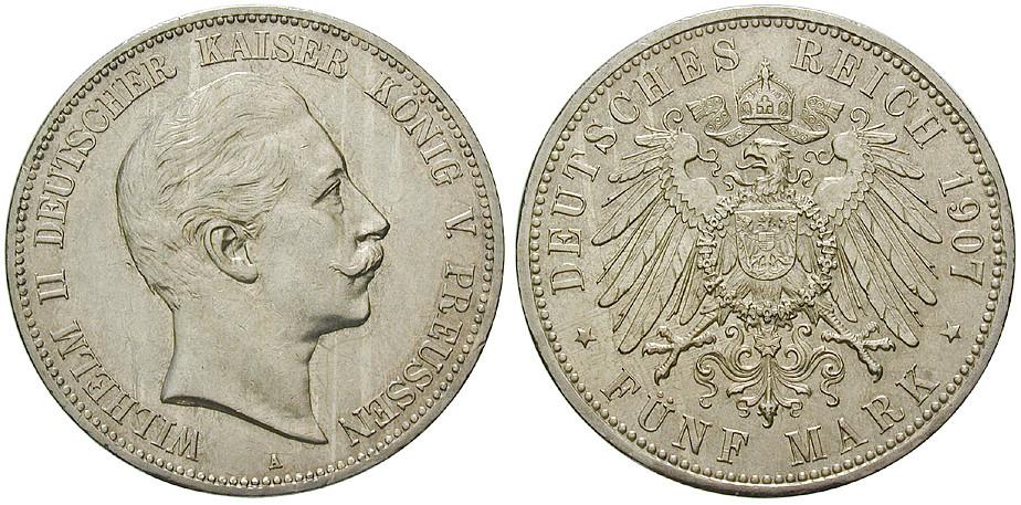 Deutsches Kaiserreich Preussen Wilhelm Ii 5 Mark 1907 A Vz J 104