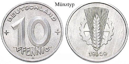 Ddr Klein Und Kursmünzen 10 Pfennig 1950 E Ss J 1503