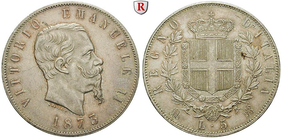Italien Königreich Vittorio Emanuele Ii 5 Lire 1873 Vz