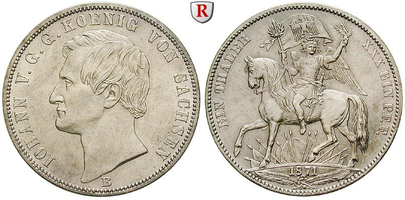 Sachsen Königreich Sachsen Johann Siegestaler 1871 Fst