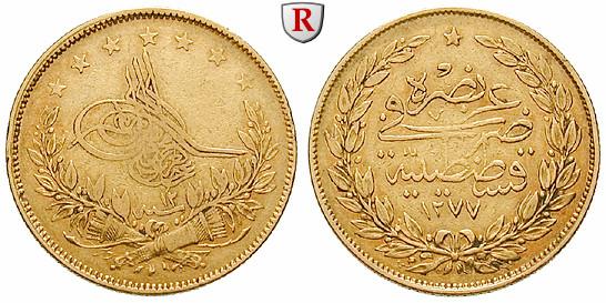 Osmanisches Reich Abdul Aziz 100 Piaster 1871 662 G Fein Ss