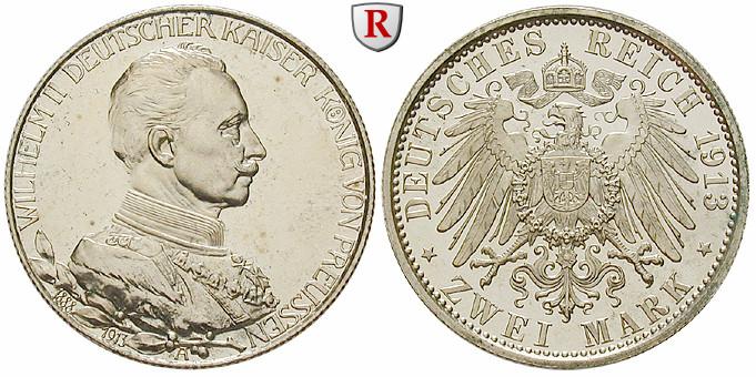 Deutsches Kaiserreich Preussen Wilhelm Ii 2 Mark 1913