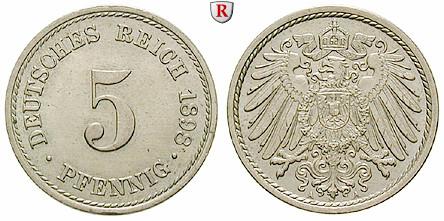 Deutsches Kaiserreich 5 Pfennig 1898 A Vz St J 12