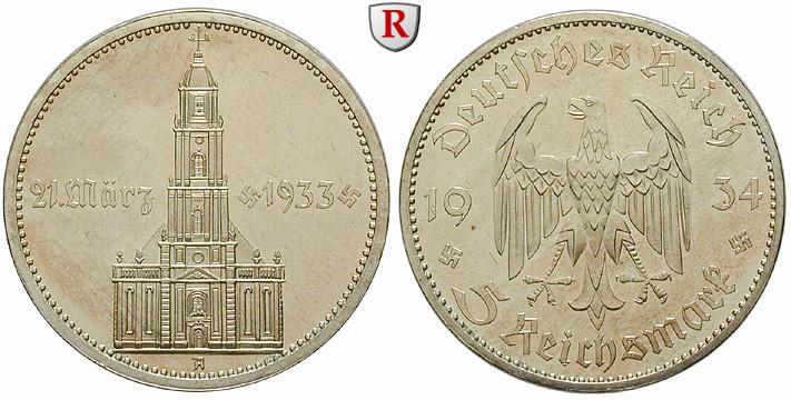 Drittes Reich 5 Reichsmark 1934 Garnisonskirche Mit Datum A Pp