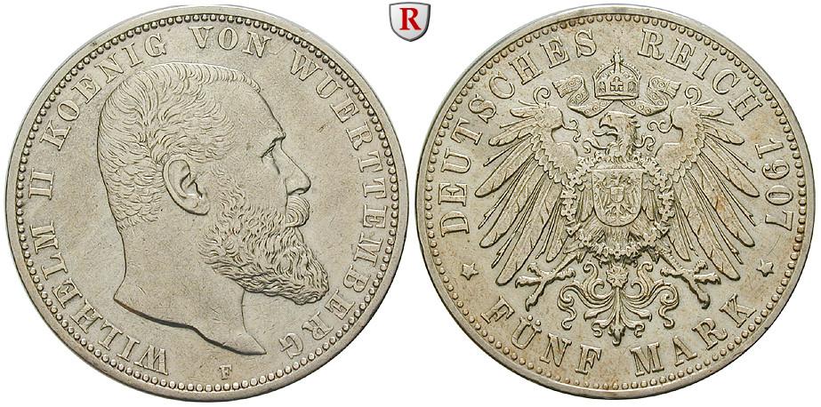 Deutsches Kaiserreich Württemberg Wilhelm Ii 5 Mark 1907 F Ss