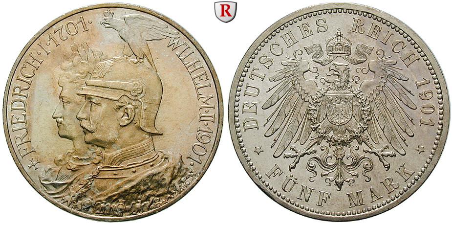 Deutsches Kaiserreich Preussen Wilhelm Ii 5 Mark 1901 200 Jahre