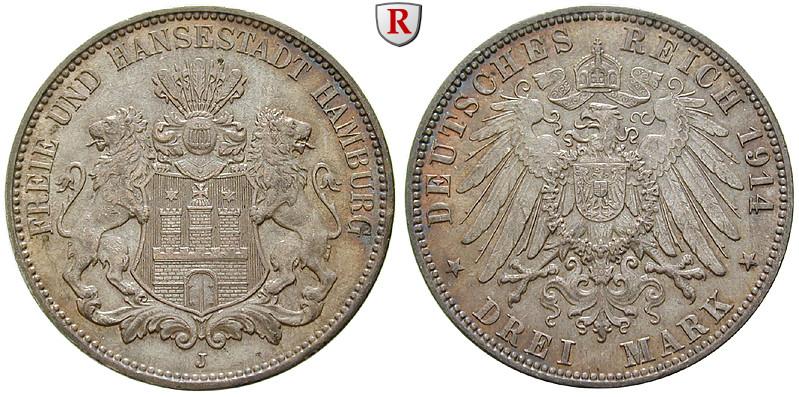 Deutsches Kaiserreich Hamburg 3 Mark 1914 J Vz J 64