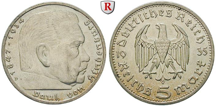 Drittes Reich 5 Reichsmark 1935 Hindenburg D Vz St J 360