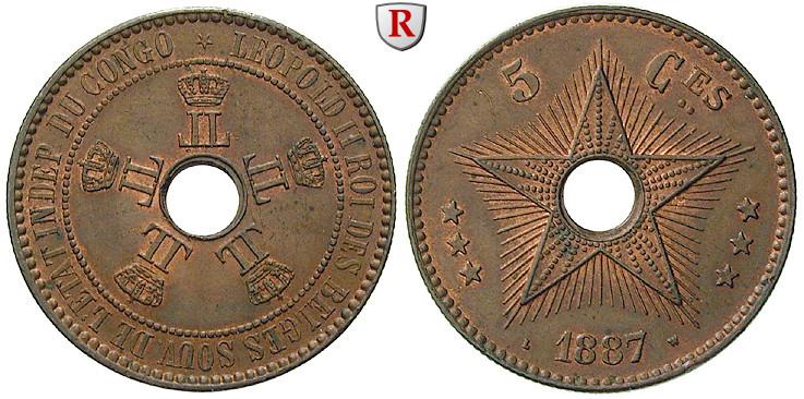 Belgisch Kongo Leopold Ii 5 Centimes 1887 Vz