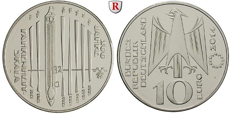 Bundesrepublik Deutschland 10 Euro 2014 300 Jahre Fahrenheit Skala