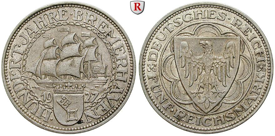 Weimarer Republik 5 Reichsmark 1927 Bremerhaven A Vz J 326