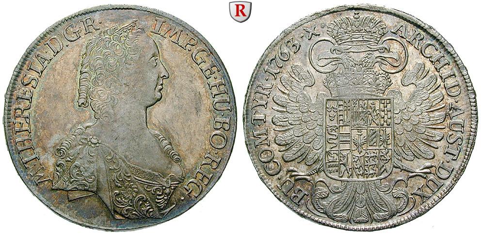 Römisch Deutsches Reich Maria Theresia Taler 1763 Vz Stst