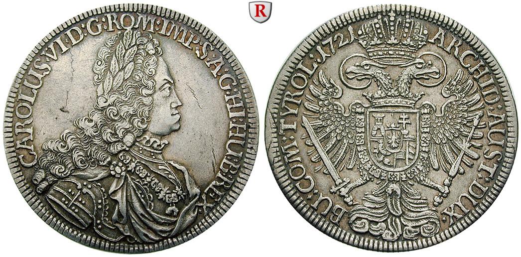 Römisch Deutsches Reich Karl Vi Taler 1721 Fvz