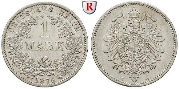 Deutsches Kaiserreich 1 Mark 1875 B 50 G Fein Fvz J 9