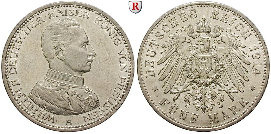 Deutsches Kaiserreich Preussen Wilhelm Ii 5 Mark 1914 Kaiser In