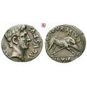 Römische Kaiserzeit, Augustus, Denar 19-18 v.Chr., ss+