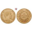 Frankreich, Napoleon III., 10 Francs 1855-1860, 2,9 g fein, ss