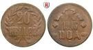 Nebengebiete, Deutsch-Ostafrika, 20 Heller 1916, Ein Blatt / Kleine Krone, T, ss, J. 727a