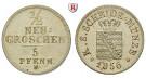 Sachsen, Königreich Sachsen, Johann, 1/2 Neugroschen 1856, vz+